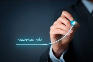 Businessman Drawing A Conversion Rate Graph That Is Increasing