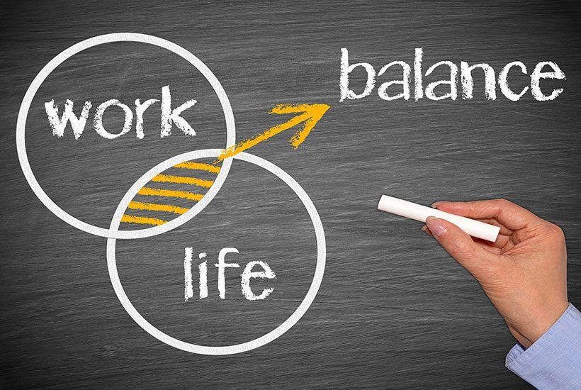 Work Life Balance Chalk Board Drawing